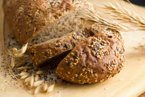Black bread with seeds of sesame, poppy and flax